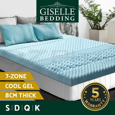 Giselle Bedding Memory Foam Mattress Topper COOL GEL BAMBOO 8CM 7-Zone All Size