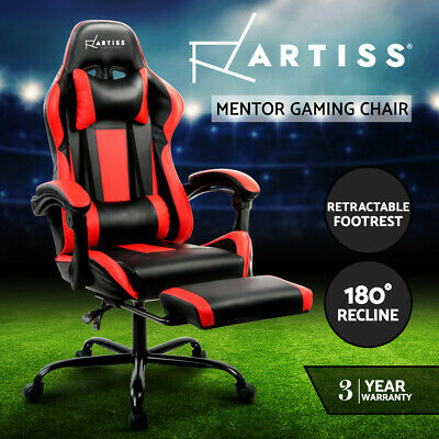 Gaming Chair Office Computer Seating Racing PU Leather Executive Racer Black Red