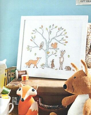 Cross stitch chart. Woodland Animals picture with finger puppets.