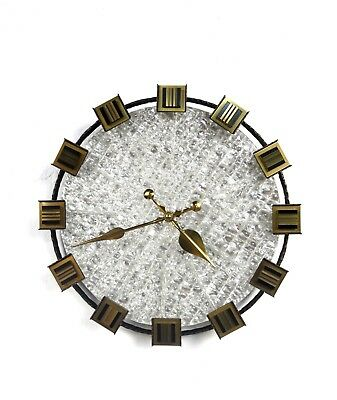 RARE ORIGINAL VINTAGE 60s JUNGHANS GLASS & METAL CAST WALL CLOCK MID CENTURY