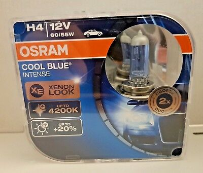 OSRAM Cool Blue Intense H4 Xenon Look +20% Duo Pack 64193CBI 12V 60/55W
