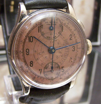 Antique Vintage 40's Venus 170 Chronograph Watch Serviced Rare Salmon Dial
