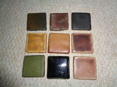 Pewabic pottery square glazed tiles 1990's sample pieces green tan brown black 9