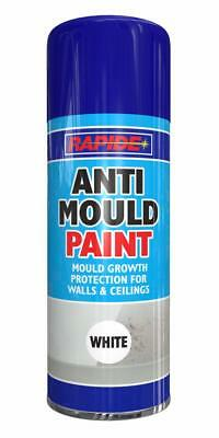 48 x Rapide One Coat Anti-Mould White Aerosol Spray Can Durable 400ml