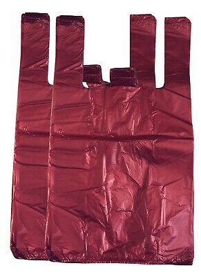 "RED Strong Plastic Vest Carrier Bags T Shirt Large and Jumbo 20mu 12""x18""x22"""