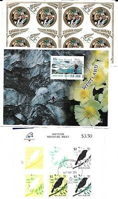 New Zealand 2 min sheets + block of 8 used on piece