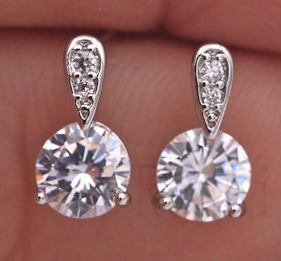 18K White Gold Filled Topaz Ear Studs Zircon Cubic Diamonds Style Earrings SW