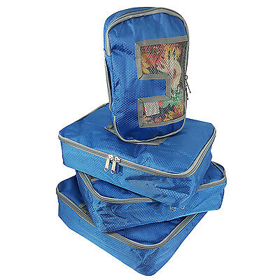 Travel Packing Cubes 4Pcs Set Luggage Organizer Packing Organizing Bags Blue