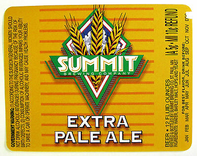 SUMMIT BREWING EXTRA PALE ALE beer label MN 12 oz NO BARCODE Var.  2 ... a0b2121ce