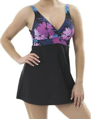 Oyster Bay Swimdress Black Pink Floral Size 12 14 16 Padded Swimsuit Skirted