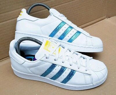 buy popular 9beea d5ee3 Adidas Superstar Pharrell Williams Turquoise Glitter Trainers Size 5.5 Uk  New