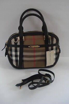 e11919d5b4a4 Authentic Burberry Bridle House Check Small Orchard Bowling Bag Satchel  Black