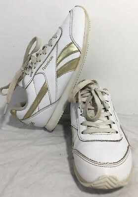 172eed18452d Reebok Women s Classic With Ortholite White Gold Athletic Sneakers Shoes Sz  5.5