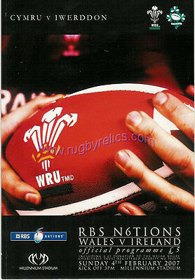 WALES v IRELAND 2007 RUGBY PROGRAMME 4 Feb at CARDIFF