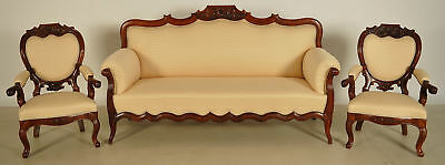 Restaurierter Louis Philippe Damensalon Sofa / zwei Sessel Antik Kolossuem