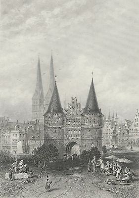 c1880 Four Engravings - GERMANY - Reutlingen, Lubeck, Halberstadt & Hildesheim