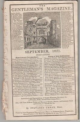 Gentleman's Magazine 1821 - Boston Grammar UK - Manby's Sea Rescue - Venezuela