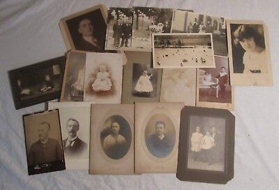 Lot of 10 Assorted CABINET CARDS + Other Antique Photos + Wedding Snapshots