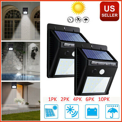 Outdoor Solar Lights Motion Sensor Wall Light Waterproof Garden Yard Lamp 20 LED