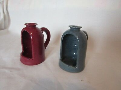 Vintage Pair of Bybee KY. Art Pottery Small Candle Holders Burgundy/Green
