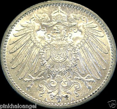 German Empire 1914A Silver Mark Coin  Rare AU