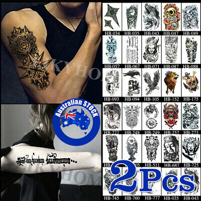 2Pcs Temporary Tattoo Sticker Waterproof Large Fake Tattoos Removable Body Art