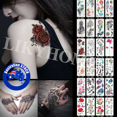 2Pcs Temporary Tattoo Sticker 3D Waterproof Leg Clavicle Fake Tattoos Body Art