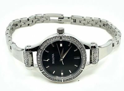 New Bulova 96L259 Womens Crystal Accented Black MOP Dial Stainless Steel Watch