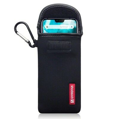 Nokia 7.1 Shocksock Neoprene Soft Pouch Case with Carabiner in Black