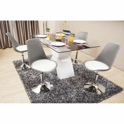 Aucune Poppy Chaise De Salle A Manger Rotative Grise Assise Blanche Neuf
