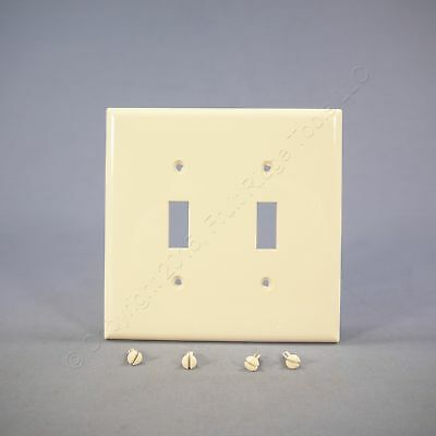 Cooper Lt Almond 2-Gang Mid-Size UNBREAKABLE Toggle Switch Cover Wallplate PJ2LA