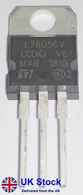 +5V Positive Voltage Regulator L7805CV LM7805 7805 TO-220 (Pack of 1-10)