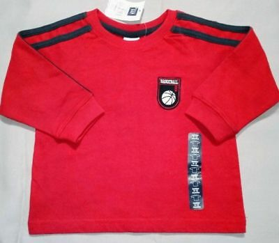 Baby GAP Boys Size 6-12 months Red Long Sleeve Basketball Shirt NWT