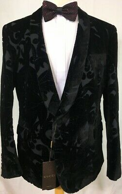 35d3e02ec Gucci Coat Black Velvet Embroidered Design 1-Btn Runway Dinner Jacket 46R  56 New