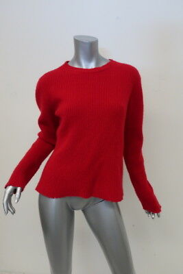 17fea188361e The Elder Statesman Cashmere Sweater Red Ribbed Knit Pullover Size Medium