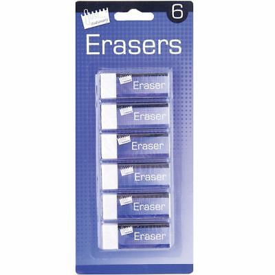 6 Quality White Soft Erasers Stationery School Office Pencil Paper Rubber