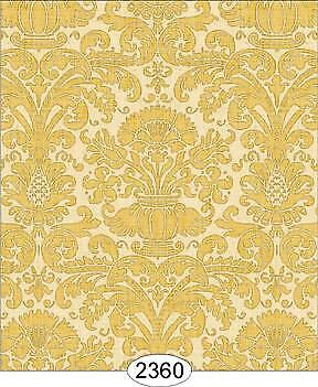 MINIATURE DOLLHOUSE WALLPAPER 1:12 SCALE 2322 ANNABELLE DAMASK GREEN OLIVE
