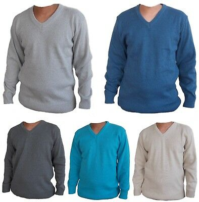 Mens Jumper Classic V Neck Knitted Pullover Shirt Sweater  UK MADE & STOCKED