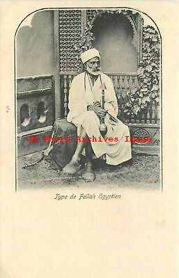 Egypt, Egyptian Fellah, Peasant or Farmer, Smoking Hookah Kiff, UDB