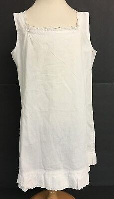 Vintage Girls White Cotton Full Slip Petticoat w/ Eyelet Trim