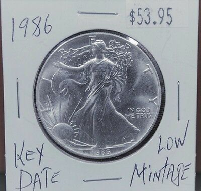 1986 1 oz Silver American Eagle BU Coin $1 Dollar Uncirculated Mint First Year