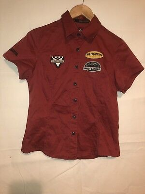 d9c71a8c Women harley davidson motorcycle button down patches blouse top small s