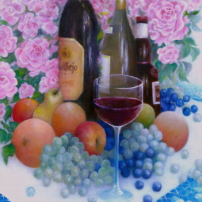 Flower Fruit Grape Wine Still Life Oil painting Giclee Printed on canvas P1154