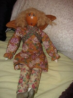 one of a kind pumpkin girl primitive doll angel decoration handmade folk art 18""