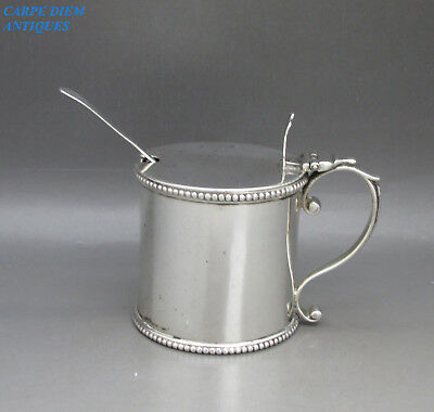 Antique Georgian Good Solid Sterling Silver Drum Mustard Pot & Spoon London 1799