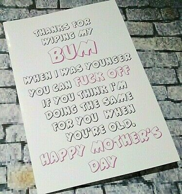 Cards-Thanks For Wiping My Bum-Happy Mothers Day Mum Mam Naughty Rude Funny Mom