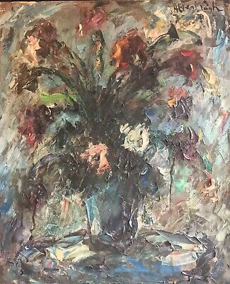 Albert Vaght (1931) Large French Expressionist Signed Oil - Still Life Flowers