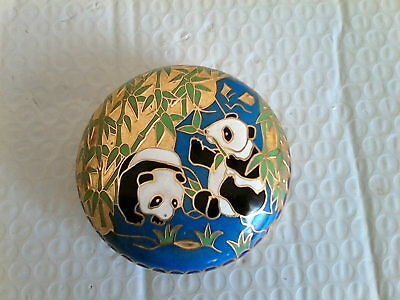 Vintage Chinese brass & cloisonne panda box. For trinkets.