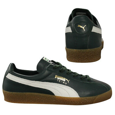 PUMA TE KU LEATHER Green Lace Up Low Top Mens Trainers