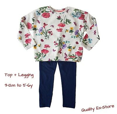 Girls Floral 2 Piece Set Outfit Top & Leggings Baby Girls Casual Ex STORE NEW